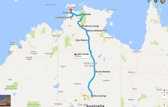Itinéraire Explorers Way dans le Territoire du Nord