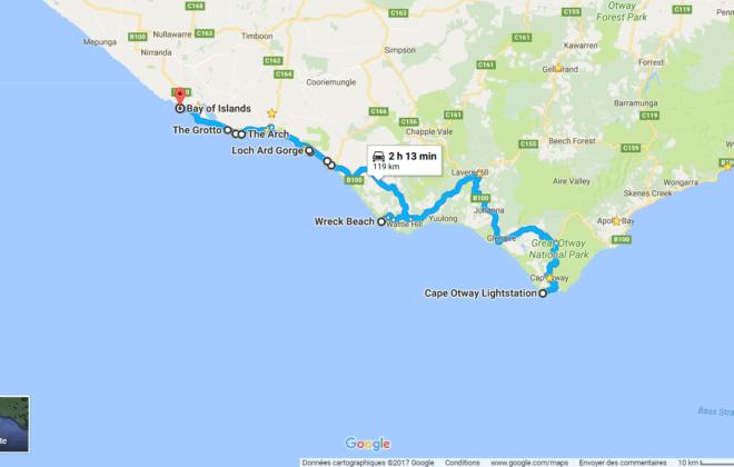 Itinéraire Ouest de la Great Ocean Road