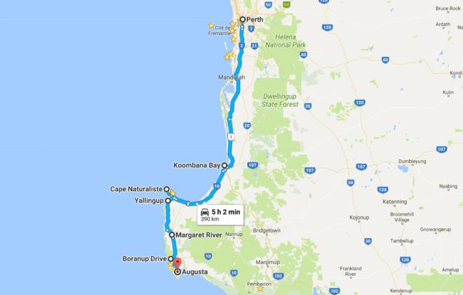 Itinéraire dans le sud de l'Australie-Occidentale