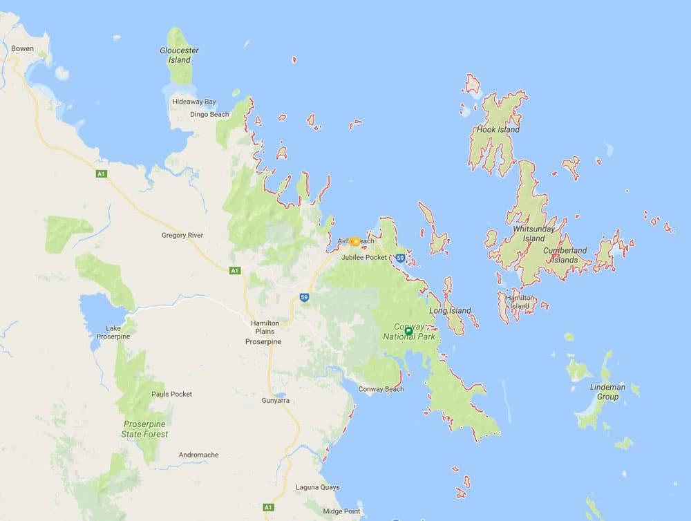 Carte des Whitsundays dans le Queensland