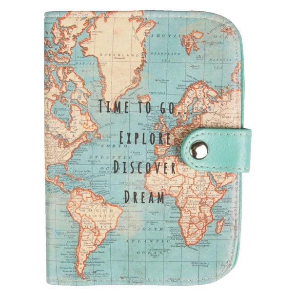 Protège-passeport vintage avec carte du monde